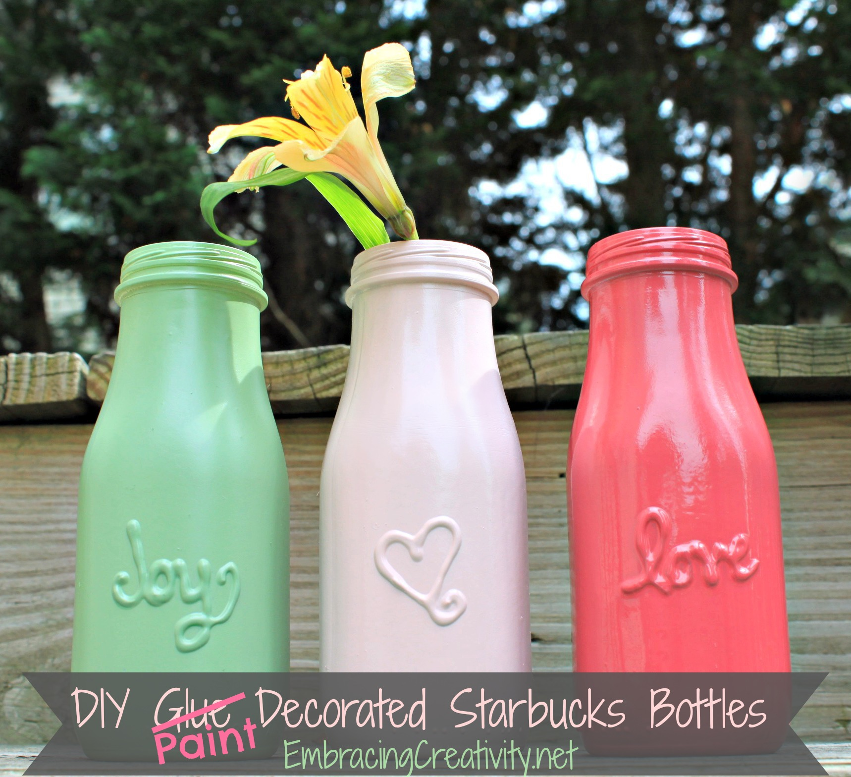 Diy paint decorated starbucks bottles embracing creativity for Diy bottles and jars